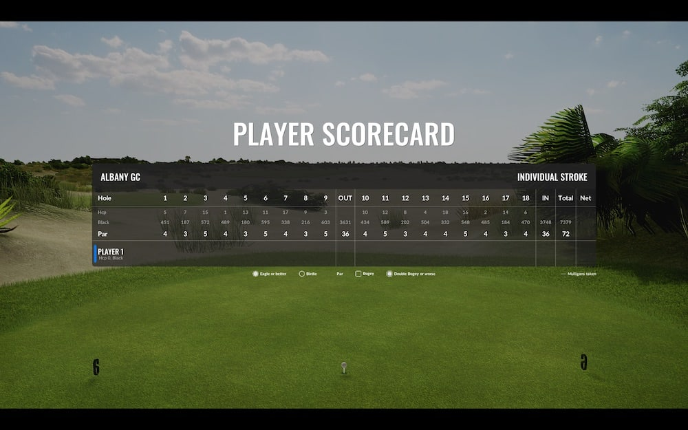 The Albany trackman course screen capture of the player scorecard